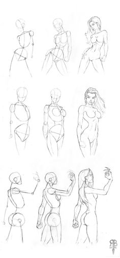 female body shapes part 2 by ~Rofelrolf on deviantART - repinning for the construction. The waist is ridiculously narrow stylistically though.