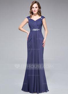 Trompete/Meerjungfrau-Linie V-Ausschnitt Bodenlang Chiffon Abendkleid mit Rüschen Perlen verziert (022027391)