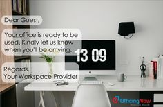 Provide a GREAT Hospitality Experience and the BEST Workspace to your Workspace Seeker for which they want to come back for. List your Best Office Today @ OfficingNow : https://www.officingnow.com/initiate-listing/