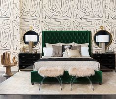 Love this emerald green button-tufted upholstered bed!