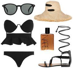 sunglasses, straw hat, peplum frill bikini, body shimmer & lace up sandals #style #fashion #summer #beach #vacation