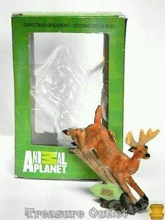 Animal Planet Kurt Adler Whitetail Deer Buck Jumping Log Ornament Figure