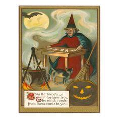 Witch Tarot Bat Full Moon Black Cat Postcard - Get your cat on for Halloween! Halloween Artwork, Halloween Prints, Happy Halloween, Halloween Ideas, Halloween Queen, Halloween Witches, Halloween Pictures, Halloween Decorations, Bruges