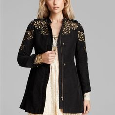 Free People embroidered sergeant jacket Unique and hard to find! Absolutely gorgeous embroidery and detail. The embroidery is actually a charcoal silver color. Just showing the gold so you can see the detail and how he jacket fits Free People Jackets & Coats Utility Jackets