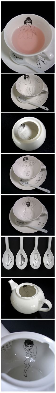 Bathing Girls Tea Set, by Esther Horchner.