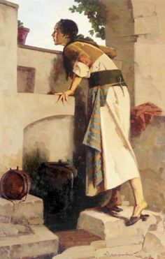 At the fountain by Apostolos Geralis Artist Painting, Oil Painting On Canvas, Canvas Art, Mediterranean Art, Greece Painting, Name Paintings, Oriental, Art Watch, Greek Art