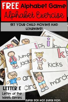 Practice letter or sound recognition while on the move with this Alphabet Exercises activity. Perfect for those winter days you are stuck inside! Click through for more details and more preschool and kindergarten alphabet resources. Preschool Letters, Learning Letters, Letters Kindergarten, Letter Recognition Kindergarten, Letter Recognition Games, Letters For Kids, Preschool Music, Teaching The Alphabet, Kindergarten Activities