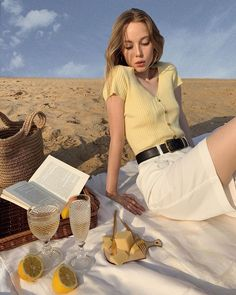summer girl 🍋💛✨ ・ ・ ・ ・ ・ ・ ・ ・ ・ ・ ・ ・ by Picnic Date Outfits, Summer Outfits, Summer Sweaters, Summer Girls, Parisian, Things That Bounce, Short Sleeve Dresses, Style Inspiration, My Style