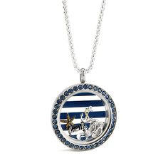 "FAMILY SEA CRUISE Say ""Bon Voyage"" as you set sail with our new and limited edition Large ""Montana"" Twist Living Locket® featuring Crystals by Swarovski®. Our limited edition Large Navy Striped Plate is the perfect addition to accent our nautical-themed Charms and the memories of your day at sea. Cruise along and customize this piece even further by adding or changing out your favorite Charms and Accessories."
