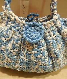 Plarn - Plastic bags - purse -  Blue and White - Crochet. $36.00, via Etsy.