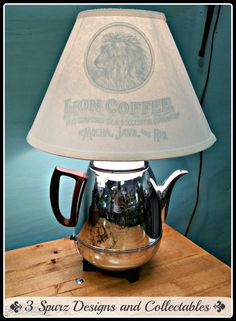 3 Spurz D&C Repurposed /Refurbished Creations!!: Vintage coffee pot lamp to light up your morning. Follow us for more wonderful pins at http://pinterest.com/3spurzdandc/... http://facebook.com/... http://www.3spurzdesignsandcollectables.com/about-us