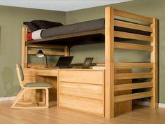 mezzanine et lit pour adulte avec bureau