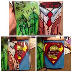 """#Superman """"Tear Strips & Glue Pages Together"""" pages. Some of my favorite ones to do in my Wreck This Journal!!"""