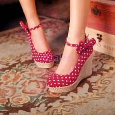 Womens High Platform Wedge Heel Polka Dot Ankle Strap casual Shoes Bowknot Pumps