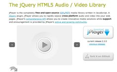 jPlayer is the completely free and open source (GPL/MIT) media library written in JavaScript. A jQuery plugin, jPlayer allows you to rapidly weave cross platform audio and video into your web pages. jPlayer's comprehensive API allows you to create innovative media solutions while support and encouragement is provided by jPlayer's active and growing community.