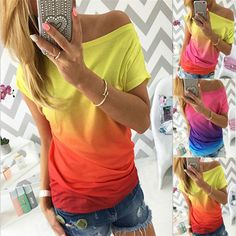 Hot Fashion Women's Casual Short Sleeve Blouse Loose Ladies Summer T-Shirt Tops