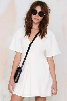 Nasty Gal Carrie Pleated Dress - Ivory | Shop Clothes at Nasty Gal!