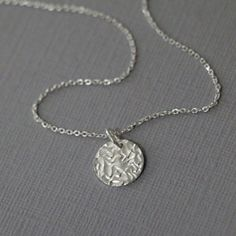 Circle Necklace, Sterling Silver Disc Necklace, Sterling Silver Necklace, Layering Necklace, Silver Necklace, Gift for Her, Gift for Mom