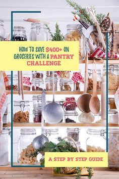 How'd you like to save $400 or more on groceries in a month? Who wouldn't right? Well you can by doing  a pantry challenge.This article will explain how it work, the rules of the challenge plus tips and ideas to survive a pantry challenge. This is seriously a great way to control your grocery budget, save money, on food and declutter you kitchen by organizing your pantry, fridge, and freezer while saving money on food. #pantrychallenge #grocerybudget #mealplan #mealplanning