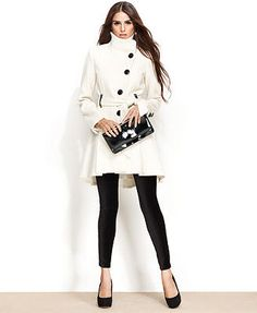 Steve Madden Belted Asymmetrical-Button Flared Coat from Macys. Orig $250. Now on sale $79.99