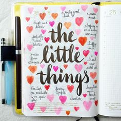 Day 25 of #listersgottalist: the little things ❤️ #journal #artjournal #hobonichi #planner #diary #notebook #filofax #mtn #midori #scrapbooking #stationery #pens #doodles #doodling #type #typography #letters #lettering #handwriting #handlettering #lettering #calligraphy #brushpens #brushlettering #watercolor #peerlesswatercolor
