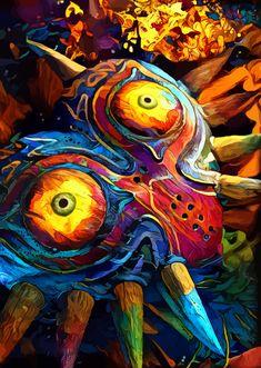 Colorful Mask by Hustl Art Mask Painting, Zelda Twilight Princess, Legend Of Zelda Breath, Masks Art, Video Game Art, Art Inspo, Art Prints, Link Zelda, Aleta