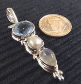 Blue topaz, pearl and moonstone pendant! - This piece has sold but check out similar items at www.glassando.com #Topaz #Pearl #Moonstone #Pendant #Handmade #Jewelry #IowaCity