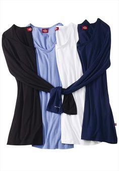 Dickies silky long sleeve crew neck tee. Scrubs Outfit, Scrubs Uniform, Nursing Clothes, Nursing Scrubs, Medical Scrubs, Stylish Scrubs, Nursing Accessories, Black Scrubs, Vestidos