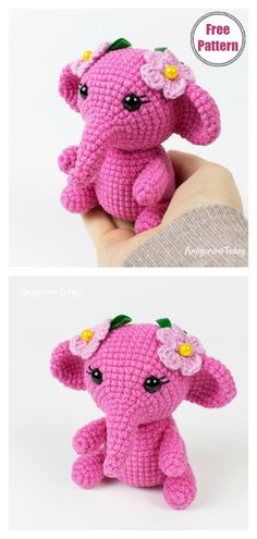 Adorable Crochet Elephant Amigurumi Free Patterns - - Enormous cuddly crochet elephants are sure to be a hit. These Adorable Crochet Elephant Amigurumi Free Patterns are just what you need to make one. Crochet Elephant Pattern Free, Elephant Applique, Crochet Animal Patterns, Pink Elephant, Crochet Animals, Free Pattern, Cute Crochet, Minis, Crochet Projects
