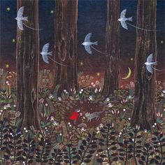 """pagewoman: """" Little Red Riding Hood by Saito Tomoko """" Forrest Illustration, Children's Book Illustration, Food Illustrations, Serpentina, Red Riding Hood, Little Red, Bunt, Book Art, Fantasy Art"""