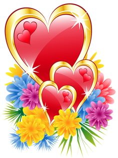 Valentine Hearts with Flowers PNG Clipart Picture