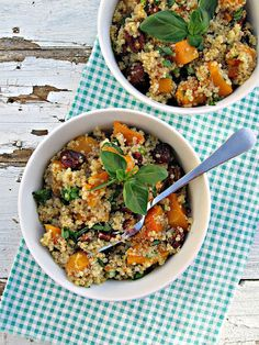 quinoa with butternut squash and pecans