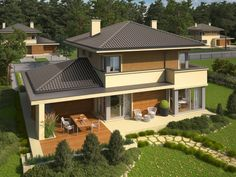 Double story house plan build on square meters Dream Home Design, Home Design Plans, Modern House Plans, Modern House Design, Style At Home, Double Story House, Storey Homes, Grand Homes, Roof Design
