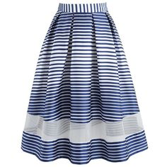 3712f3e0953372 Chicwish Walk My Way Striped Midi Skirt in Navy ($45) ❤ liked on Polyvore