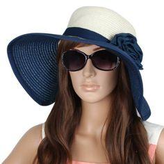 Allegra K Lady Floppy Textured Woven Wide Brim Flower Embellished Sun Hat