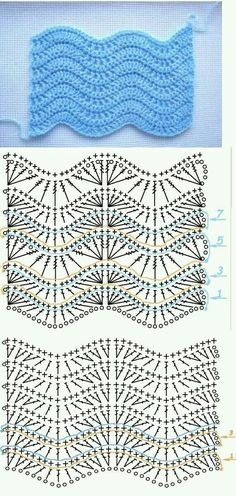 Crochet Unicorn Libraries Ideas For 2019 Crochet Edging Patterns, Crochet Diagram, Crochet Chart, Stitch Patterns, Knitting Patterns, Baby Patterns, Crochet Hood, Crochet Stitches For Blankets, Baby Blanket Crochet