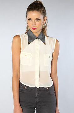 The Midtown Button Up With Contrast Collar in White by Civil