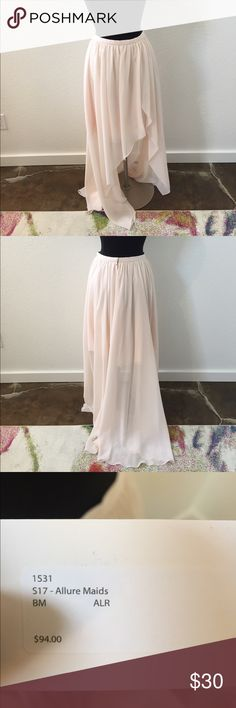 Baby pink high low chiffon skirt Baby pink high low chiffon skirt.  Check out our other listings for top options!! This gown is a size 12 but fits like a 10. Measurements for a 12 are 37.5/30.5/41.5 Skirts High Low