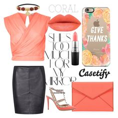 """#Corals of the day"" by casetify ❤ liked on Polyvore featuring Rika, Rebecca Minkoff, River Island, Henri Bendel, Casetify, MAC Cosmetics and Valentino"