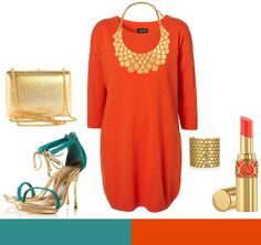 The teal TopShop sandals, orange TopShop jumper & orange YSL lipstick are reasonable; the gold Gucci clutch, Robert Cavalli bib necklace & gold-plated cuff, not so much. Would love the look with a bit of teal in the jewellery or bag, or if a light scarf in a teal print was added.
