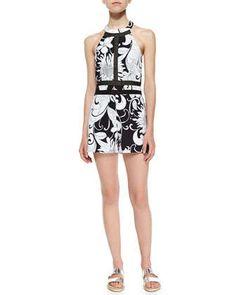 Tarina Halter Floral-Print Short Jumpsuit by Trina Turk at Neiman Marcus.