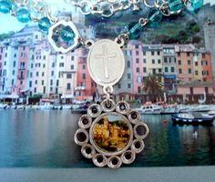 Vernzza Cinque Terre PendantAssemblage Necklace with Rosary