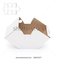 Empty Open Cube Box with Die Cut Template - stock photo