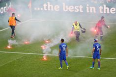 During the Croatia-Czech Republic Euro 2016 match on Friday, all hell broke loose in the 85th minute. With Croatia holding a 2-1 lead, several flares were thrown from the Croatia supporters section onto the pitch, one of which landed near Czech goalkeeper