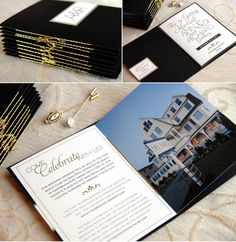 Black and Gold - Love it --- Destination wedding invitation booklets