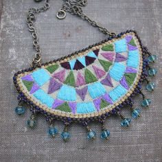 Embroidered Necklace, Geometric Chevron Pattern on Linen, Teal and Mauve, Antique Brass Chain - Hailey Fabric Jewelry, Boho Jewelry, Women Jewelry, Diy Jewellery, Boho Necklace, Textiles, Fibre And Fabric, Gold Fabric, Brass Chain