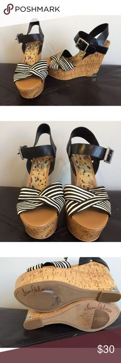 SAM EDELMAN black white hair calf wedge sandals NWOB, never worn, excellent condition, clean and smoke free home, no signs of wear Sam Edelman Shoes Wedges