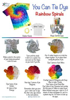 how to Tie Dye a Rainbow Spiral swirl pattern. How to fold your t-shirt + . -Learn how to Tie Dye a Rainbow Spiral swirl pattern. How to fold your t-shirt + . - Simple One-Step Spiral Tie Dye Reverse Tie Dye Fête Tie Dye, Tie Dye Party, How To Tie Dye, Tye Dye, Tie Dye Tips, Kids Tie Dye, Tulip Tie Dye, Diy Tie Dye Shirts, T Shirt Diy