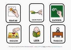 El profe y su clase de PT: Imágenes de acciones y con pictogramas Pecs Communication, Present Tense Verbs, Sensory Boards, Sign Language, Kids Decor, Preschool, Teaching, Activities, How To Plan