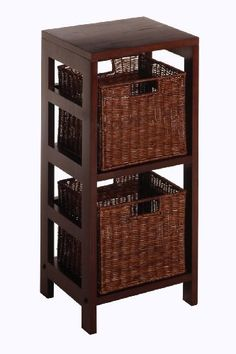 Winsome Wood Leo Wood 2 Tiered Shelf with 2 Rattan Baskets by Winsome Wood. $63.99. Narrow wood 2 section shelf for small spaces. Match with other shelves from this collection. Ships complete with hardware and tools for easy assembly. 3pc Compact storage set. 2 Antique Walnut rattan baskets fit neatly on the shelves. Two sectioned narrow wood shelf with two small rattan storage baskets.  Elegant yet functional. Mix and match with the other espresso storage she...